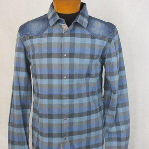 Morse Code Pearl Snap Blue Check Western Shirt